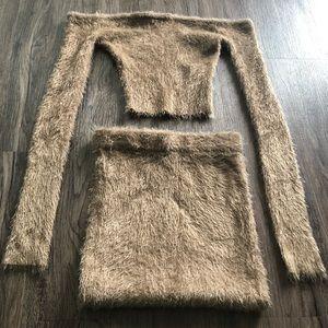 Furry Tan Two Piece Set